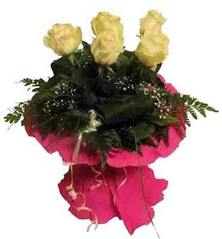 Ramo 5 rosas blancas de 60 cm - Flores Dalia