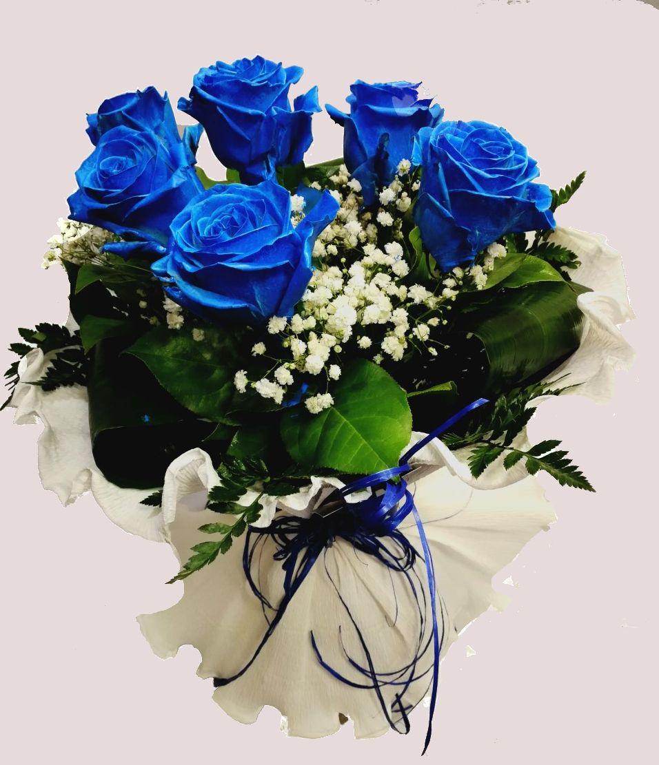 Ramo 6 Rosas Azules Teñidas