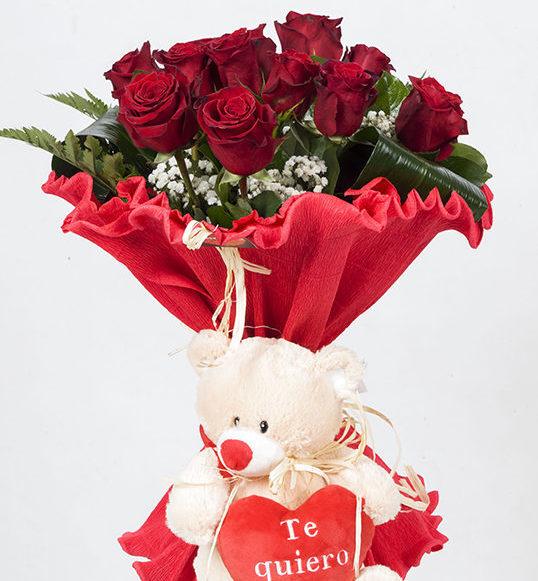 Ramo 12 Rosas Con Peluche Es Un Ramo De 12 Rosas Tallo Largo