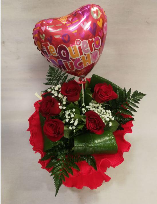 Ramo Cinco Rosas Con Globo Flores Dalia