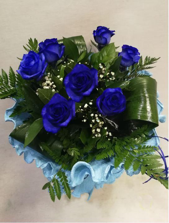 Ramo 7 Rosas Azules Ramo Rosas Azules Naturales Sin Teñir