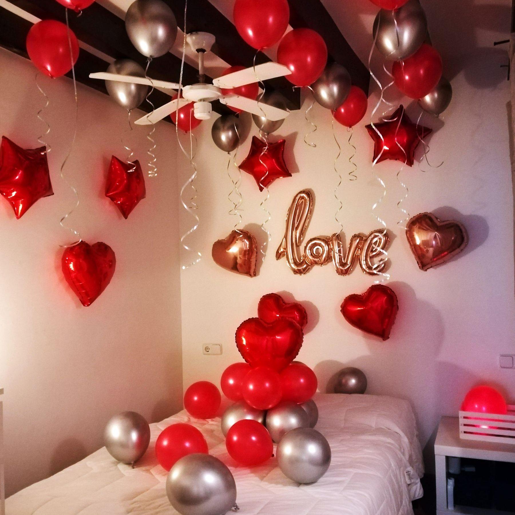 decoración romántica con globos