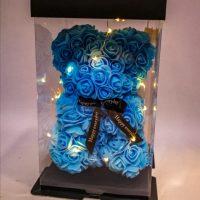 oso azul de rosas foam 20 cm con luz led