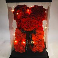 oso rojo de rosas foam 20 cm con luz led