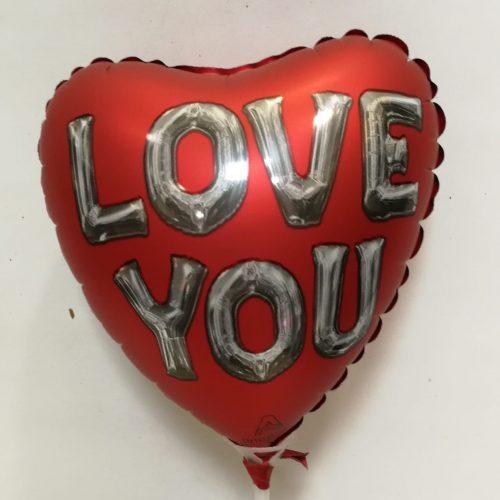 globo Love You con fondo rojo