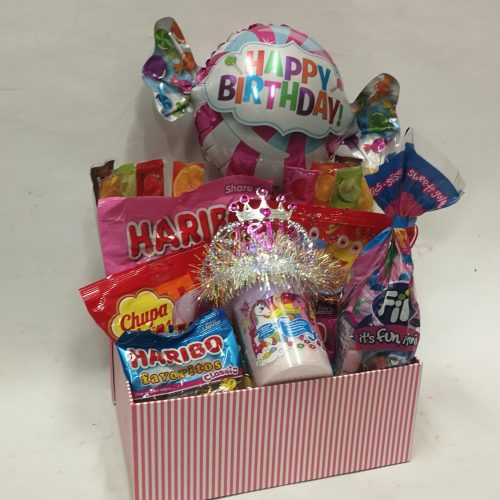 caja cumpleaños niña con globo